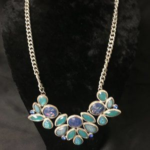 Jewelry - Multi Blue Rhinestones and Silver Toned Necklace